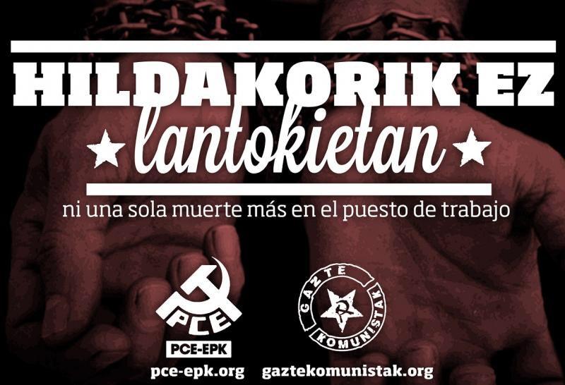 El Partido Comunista de Euskadi-EPK y Gazte Komunistak denuncian la muerte de un repartidor de pizzas de 24 años tras un accidente
