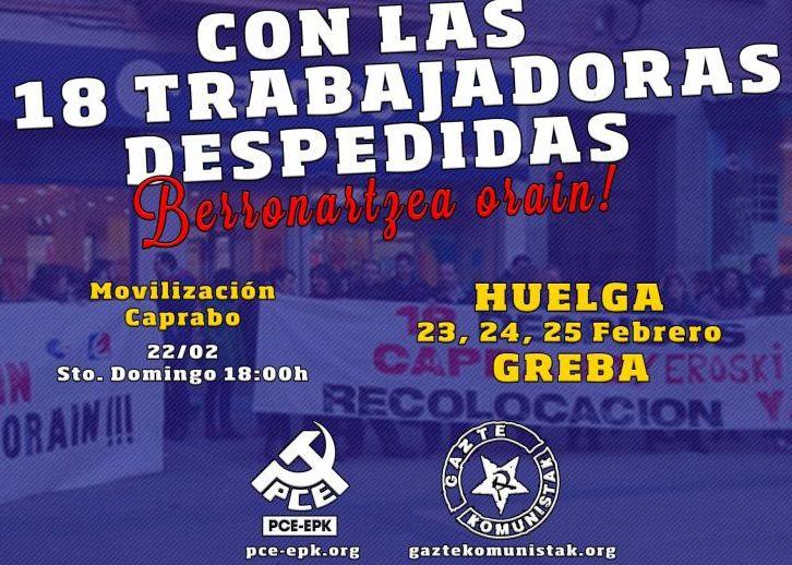 El EPK y GK exigen la readmisión y recolocación de las 18 trabajadoras despedidas en Caprabo – Pamplona