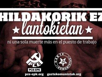 El PCE-EPK lamenta la muerte de un trabajador que se ha precipitado desde un cuarto piso en un edificio de obras en Bilbao