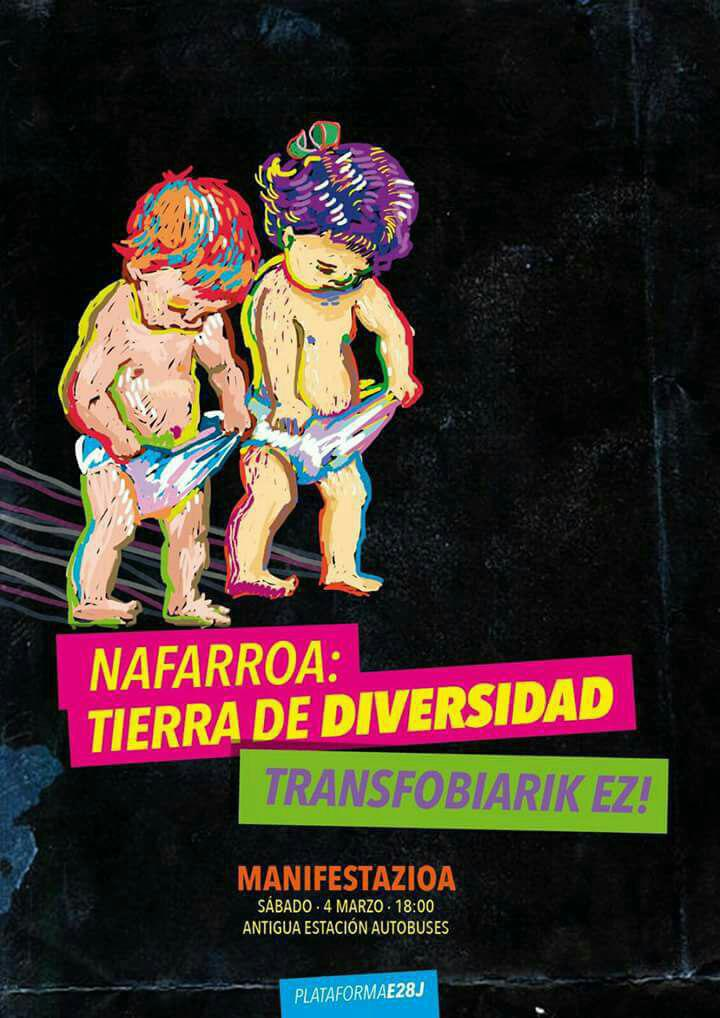 Manifestazioa. Transfobiarik ez. Manifetación contra la transfobia en Pamplona