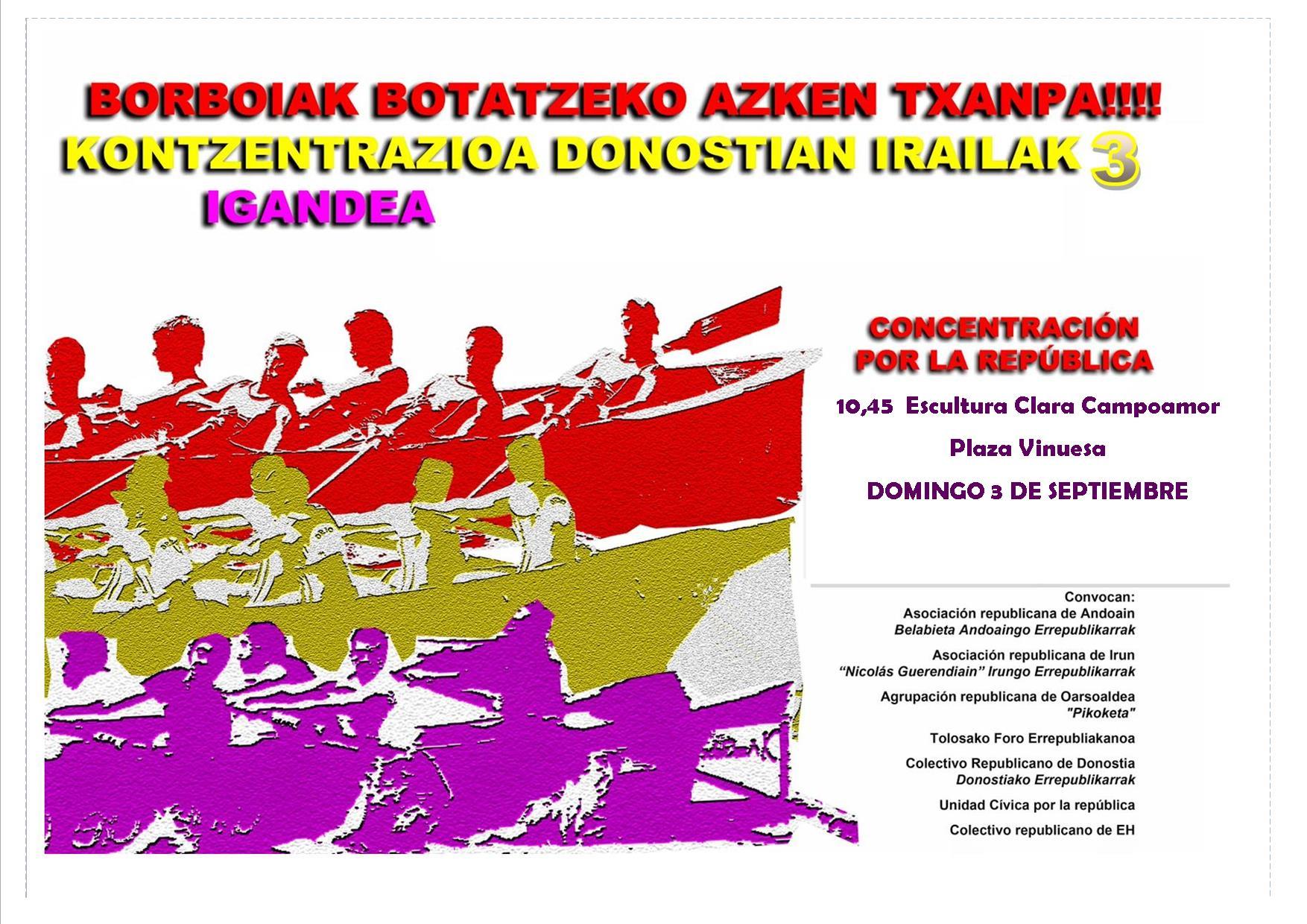 Este domingo concentración por la República en Donostia
