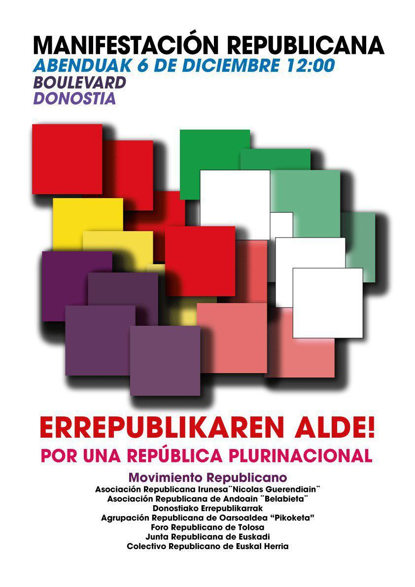 Las asociaciones Republicanas de Euskadi convocan una movilización por la República para este miércoles 6 de Diciembre en Donostia.
