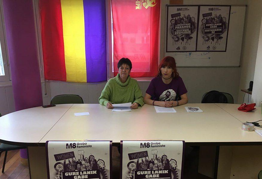EL PCE-EPK Navarra y Gazte Komunistak Navarra muestran su apoyo a la Huelga Feminista del próximo 8 de Marzo.