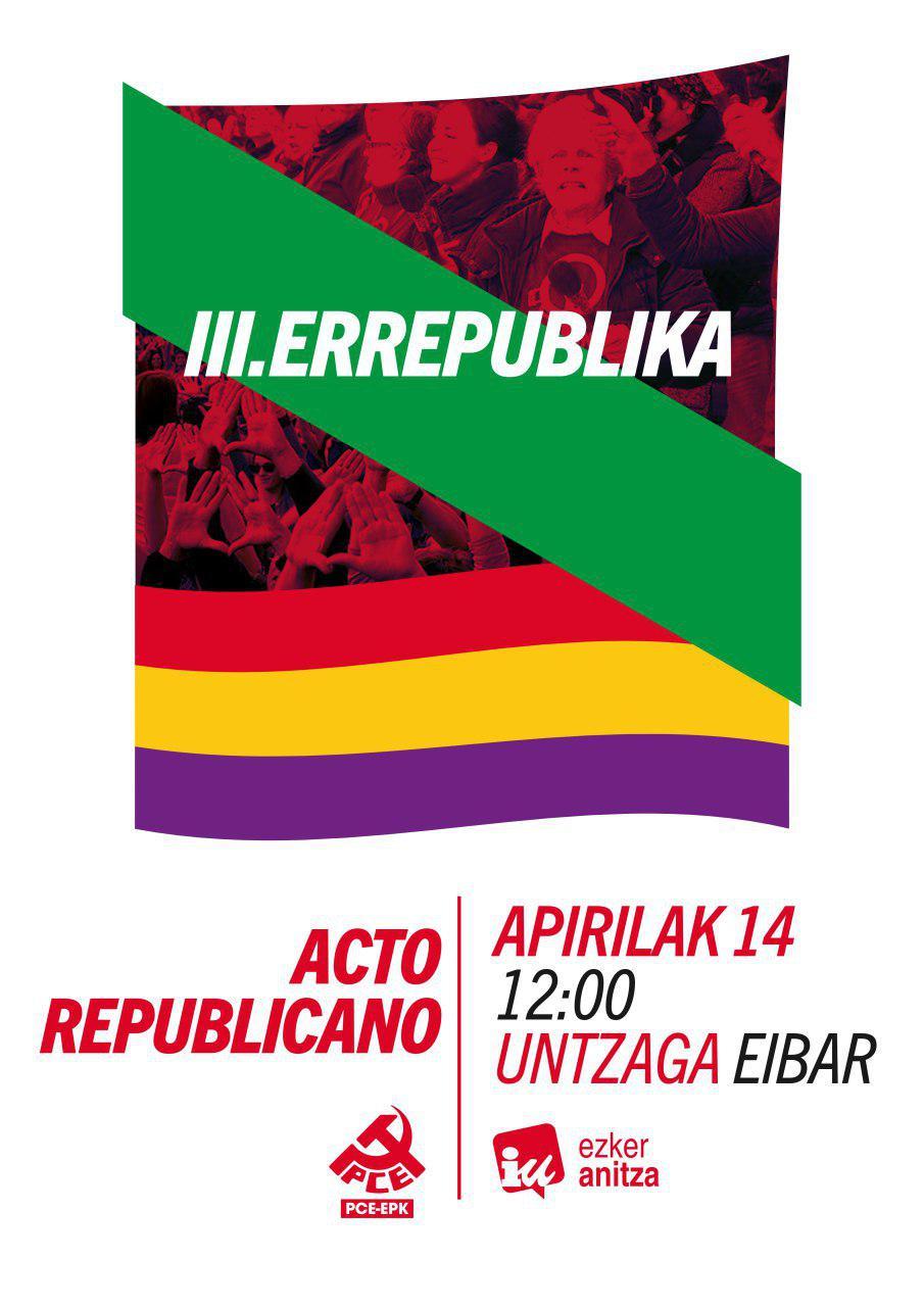 Participaremos en los actos republicanos en Eibar este 14 de abril
