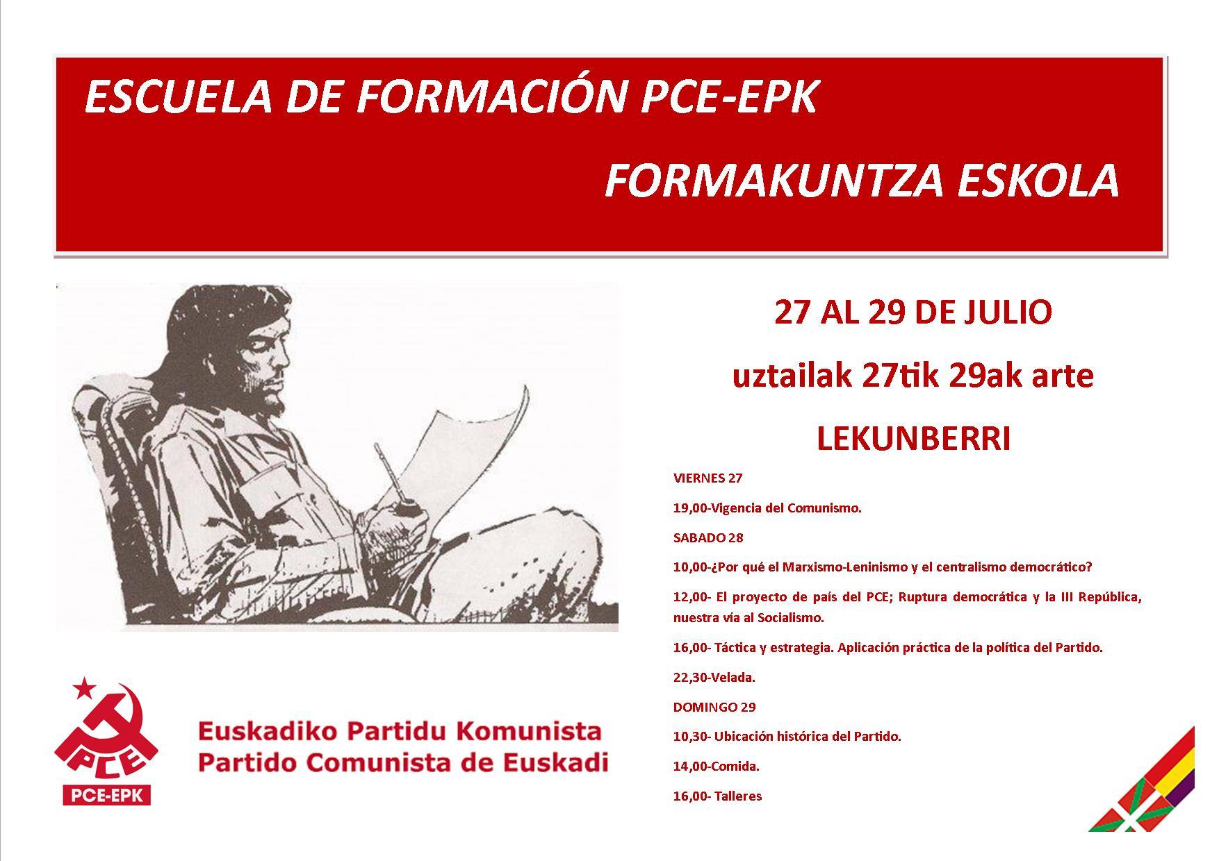 Escuela de formación de verano del PCE-EPK. Formakuntza Eskola, Uztailak 27tik 29ak arte.