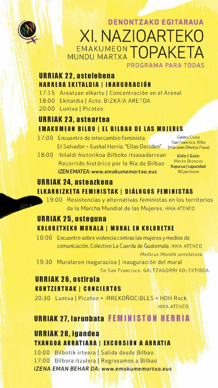 Se acerca la XI Emkumeen Mundu Martxa que se celebrará este año en Bilbao.