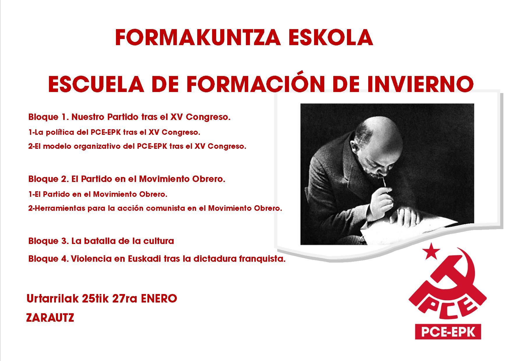 FORMAKUNTZA ESKOLA. Escuela de formación de invierno del PCE-EPK