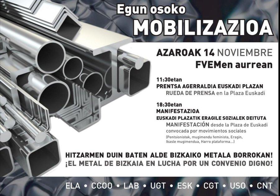 Continúan las movilizaciones por el convenio del metal en Bizkaia.