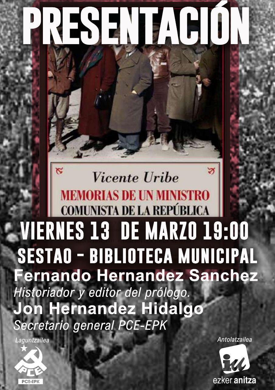«Vicente Uribe, Memoria de un ministro comunista en la República» liburuaren aurkezpena.