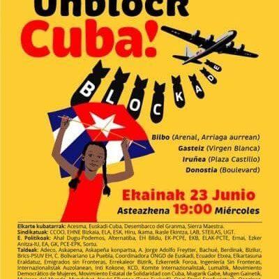 «Biden, entzun mundua: Unblock Cuba!»  23 de junio: concentraciones acompañarán votación en la ONU contra el bloqueo a Cuba.