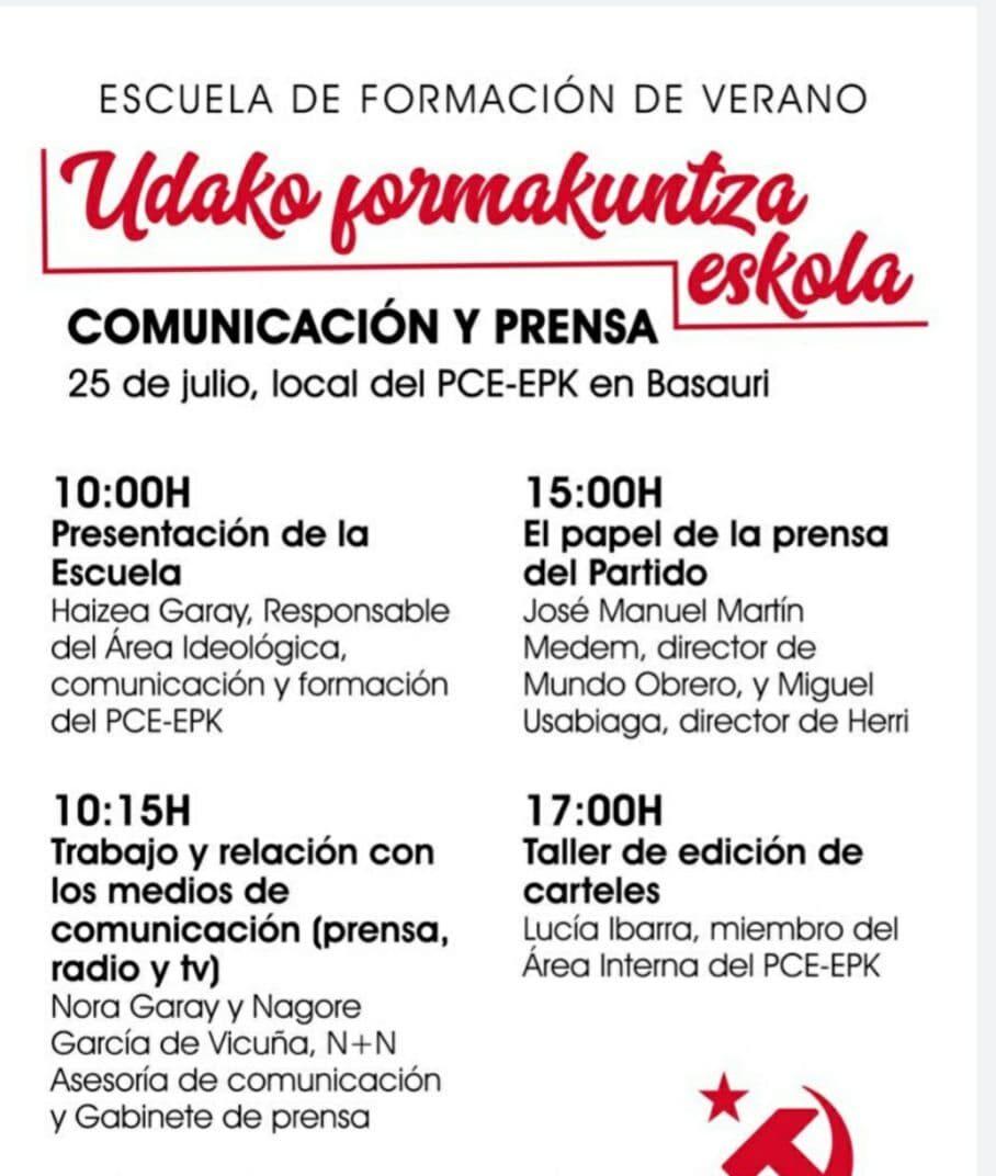 Udako fomakuntza eskola. Escuela de verano del PCE-EPK.