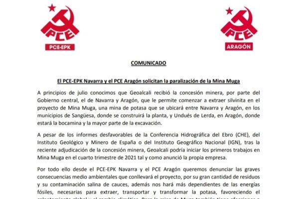 El PCE solicita la paralización de la Mina Muga entre Navarra y Aragón.
